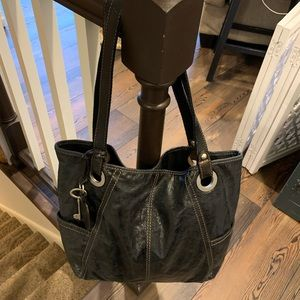 Black leather Fossil tote